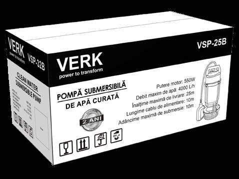Pompa submersibila Verk VSP-32B, 750W, 66L/min, apa curata, plutitor/flotor 1