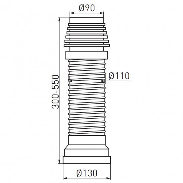 Racord felxibil/extensibil pentru vas wc FERRO 497.P, Lungime 270-630 mm, Diametru 90/110 mm 1