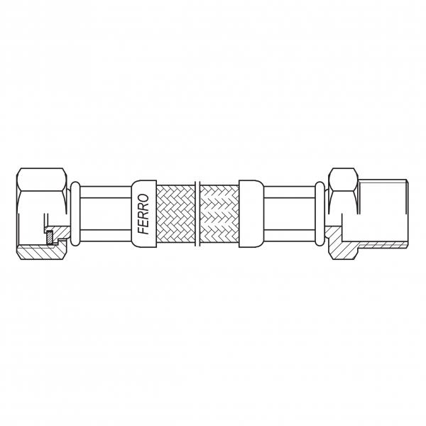 "Racord flexibil pentru apa FERRO PWS411, 1/2""x1/2"" FI-FE  25cm 1"