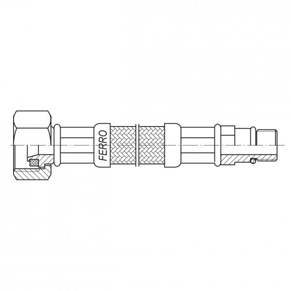 Racord flexibil pentru baterii FERRO WBS12, 3/8xM10x1, cu capat scurt L=50cm 1
