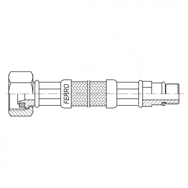 Racord flexibil pentru baterii FERRO WBS18, 3/8xM10x1, cu capat scurt L=60cm 1