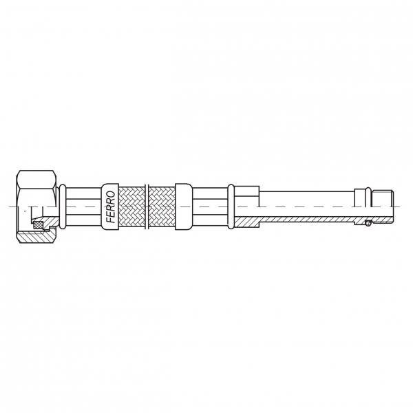 Racord flexibil pentru baterii FERRO WBS23, 1/2xM10x1, cu capat lung L=35cm 1