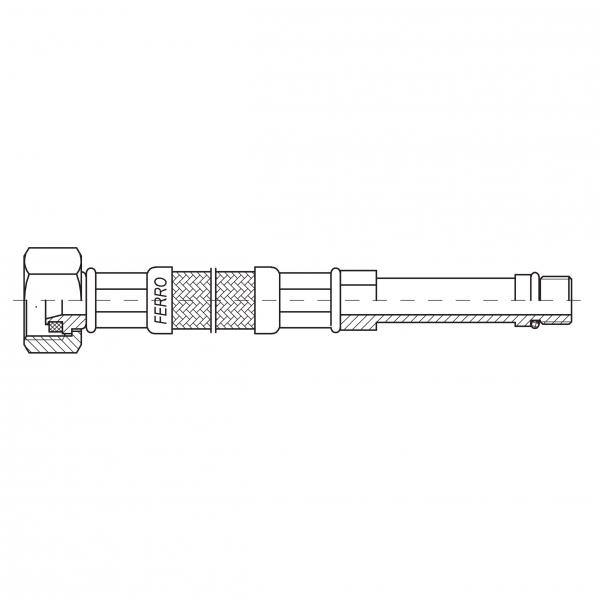 Racord flexibil pentru baterii FERRO WBS28, 1/2xM10x1, cu capat lung L=80cm 1
