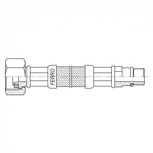 Racord flexibil pentru baterii FERRO WBS85, 1/2xM10x1, cu capat scurt L=90cm 1