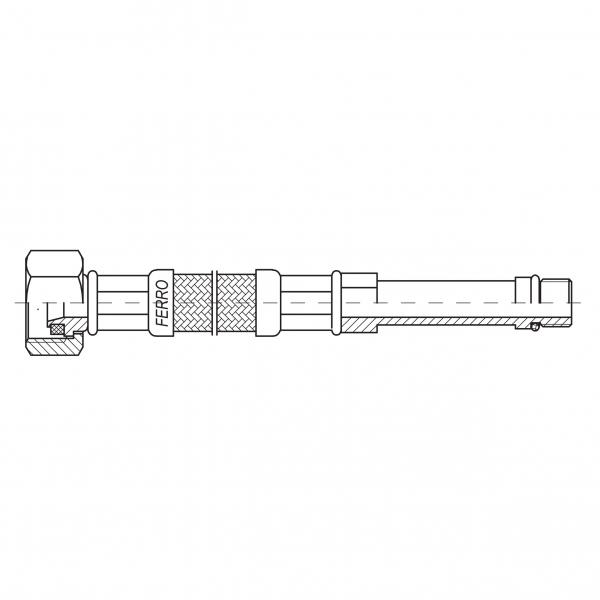 Racord flexibil pentru baterii FERRO WBS92, 3/8xM10x1, cu capat lung L=40cm 1