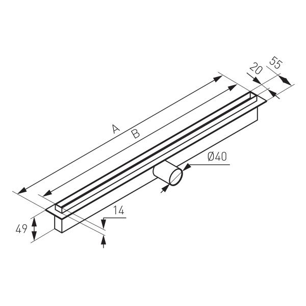 Rigola dus FERRO OLS1-65, inox Perfect Drain L= 650 mm, cu sifon DN40 incorporat 1