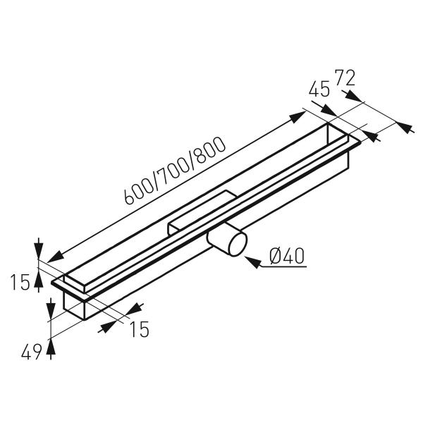 Rigola dus FERRO OLSP1-60, inox Slim Pro L= 600 mm, cu sifon incorporat DN40 1