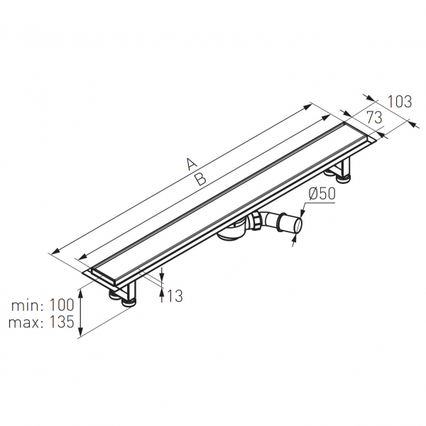 Rigola dus inox FERRO Ora OL1-80, L= 800 mm cu model grila drept cu sifon DN40/50 1