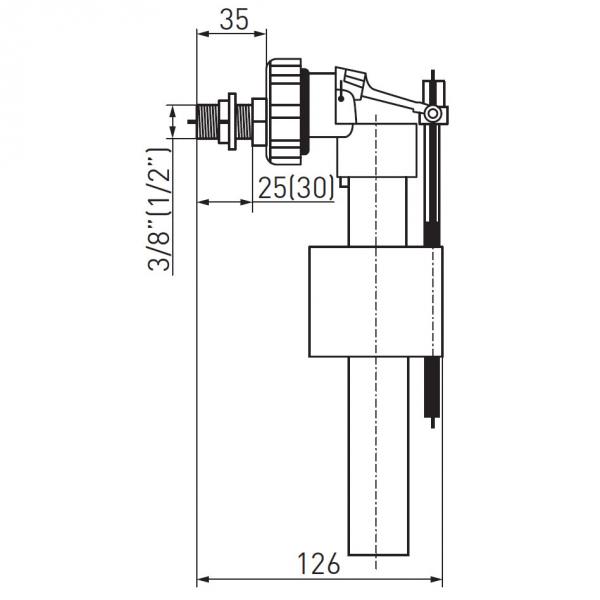 Robinet flotor universal FERRO 490.P, 3/8+1/2 cu alimentare laterala pentru rezervor wc 1