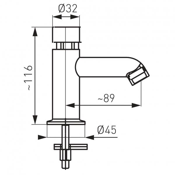 Robinet lavoar cu temporizare pentru apa rece si apa calda FERRO Presstige II Z201R, crom 2