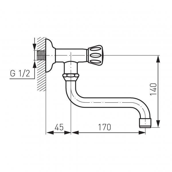 Robinet perete lavoar/spalator FERRO Z39, pentru apa rece, crom 1