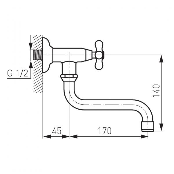 Robinet perete lavoar/spalator FERRO Z40 pentru apa rece, crom 1