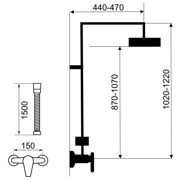 Set 2 in 1 FERRO Tina alb/crom: 38062/1,1 baterie perete dus,  cu set bara dus cu suport culisant, dus fix si para dus mobila 1