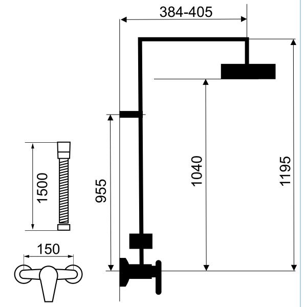 Set 2 in 1 FERRO Tina crom: 38062/1,0 baterie perete dus,  cu set bara dus cu suport culisant, dus fix si para dus mobila 1