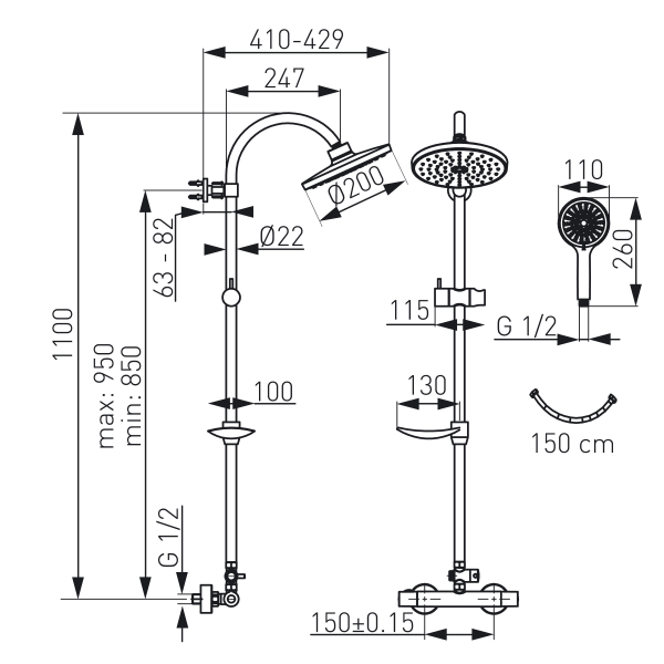 Set 2 in 1 FERRO Trinity: TRM7 baterie termostatata perete dus cu set bara dus cu suport culisant, dus fix si para dus mobila, crom 1