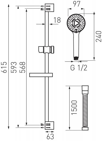 Set bara dus 3 functii cu suport culisant FERRO Tutti N340, crom 1