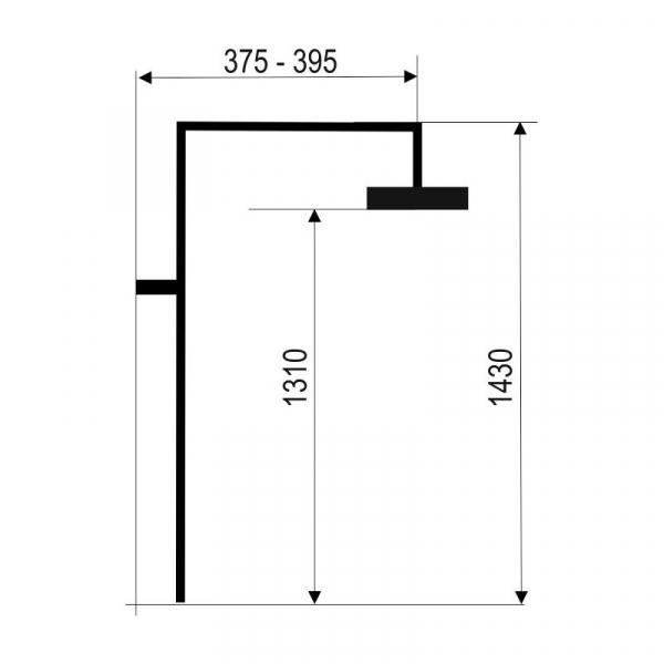 Set bara dus cu tub de prelungire pentru baterii FERRO SET065.0, 42023, crom 1