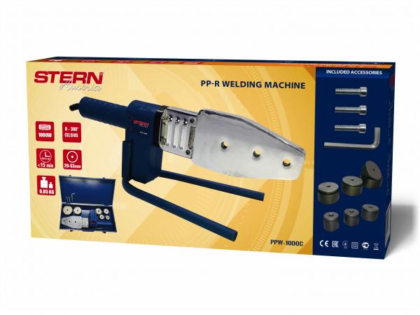 Plita lipit tevi polipropilena Stern PPW1000C, plita 800W, 6 bacuri 20-63mm 4