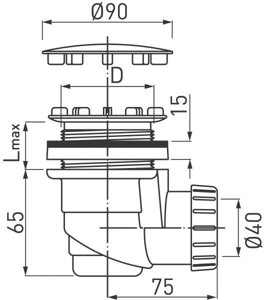 Sifon cadita dus FERRO 470.P, diametru 90x1 1/2x40, H65, PP alb cu capac cromat 1