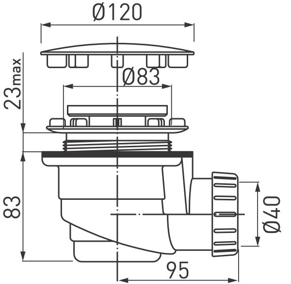 Sifon cadita dus FERRO 475.P, Diametru120x1 1/2x40, H83 PP alb cu capac cromat 1