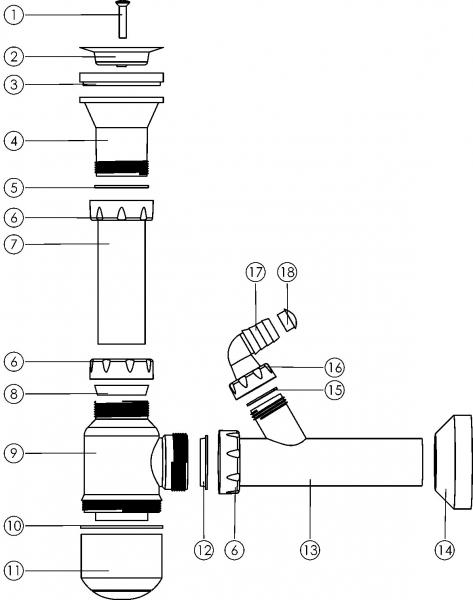 Sifon cu ventil fara preaplin FERRO NSP45, DN 40, 49 mm, pentru spalator 1