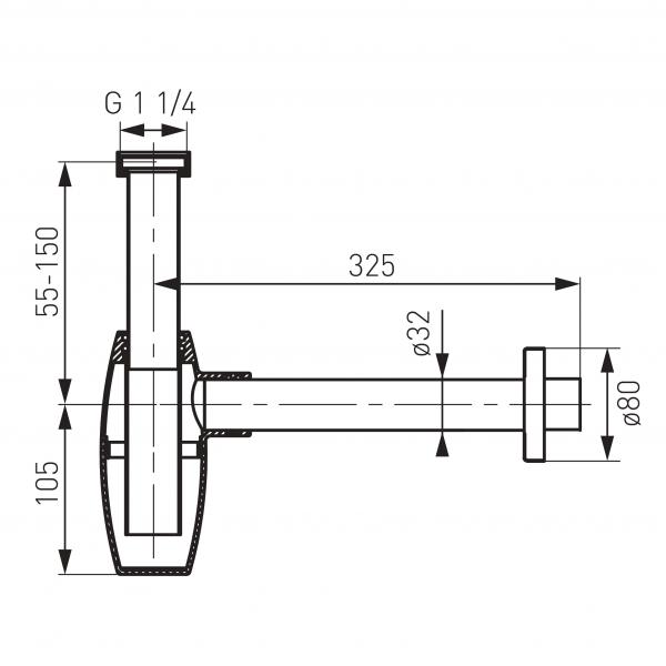 Sifon lavoar din alama FERRO Oval S286, 1 1/4 x 32 mm, crom 1