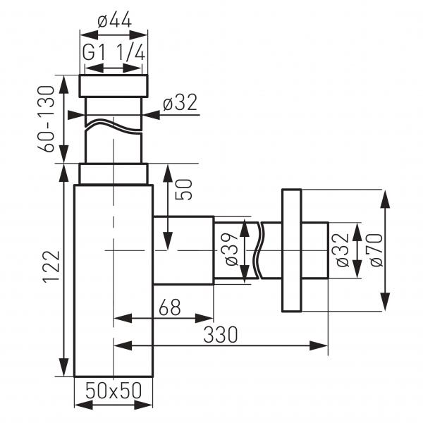 Sifon lavoar din alama FERRO Quadro S280, 1 1/4 x 32 mm, crom 1