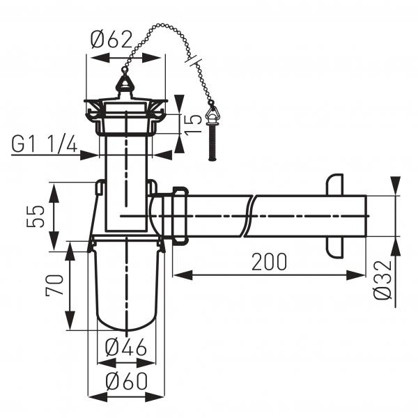Sifon lavoar din alama FERRO S29, 1 1/4 x 32 mm, crom cu ventil 1