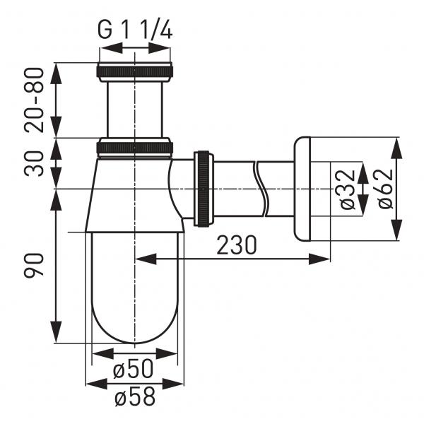 Sifon lavoar din alama FERRO S30, 1 1/4 x 32 mm, crom fara ventil 1