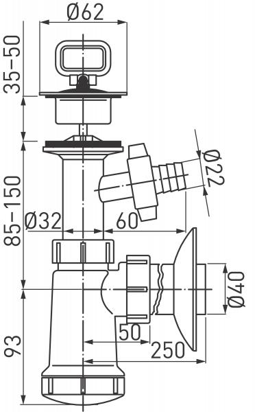 Sifon lavoar FERRO 422.PP, 1 1/4x40 mm PP alb tip butelie cu ventil, dop si racord masina de spalat 1