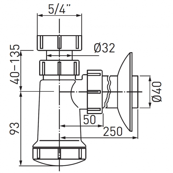 Sifon lavoar FERRO 430.P, 1 1/4x40 mm, PP alb tip butelie 1