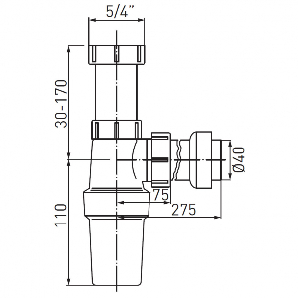 Sifon lavoar FERRO 431.P, 1 1/4x40 mm, PP alb tip butelie 1