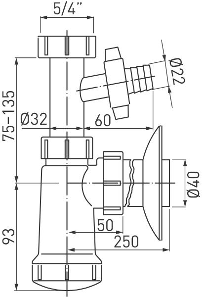 Sifon lavoar FERRO 432.PP, 1 1/4x40 mm PP alb tip butelie cu rac, mas, sp, 1