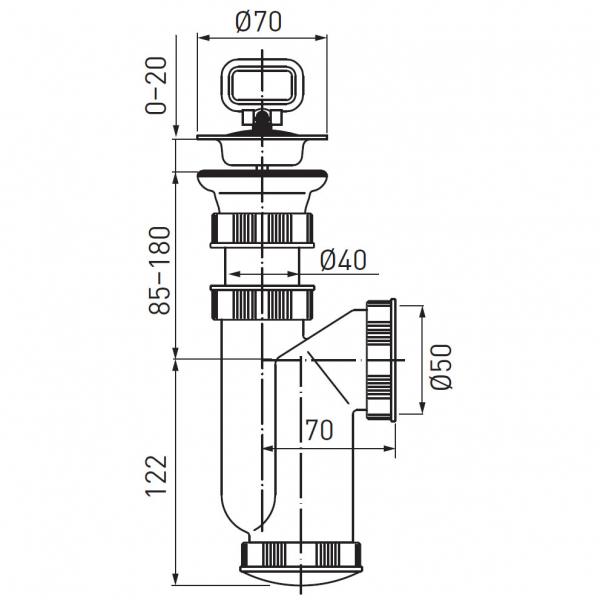 Sifon lavoar FERRO 440.P, 1 1/2x40/50 mm, PP alb cu ventil  si dop 1