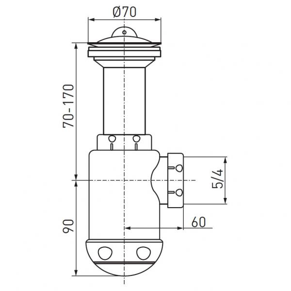 Sifon lavoar FERRO 441.P, 1 1/2x40/50 mm, PP alb tip butelie cu ventil  si dop 1
