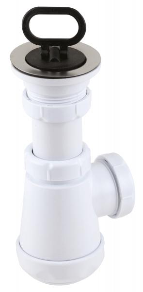 Sifon lavoar FERRO 441.P, 1 1/2x40/50 mm, PP alb tip butelie cu ventil  si dop 0