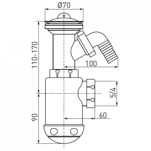 Sifon lavoar FERRO 443.PP, 1 1/2x40/50 mm, PP alb tip butelie cu ventil, dop si racord masina spalat 1
