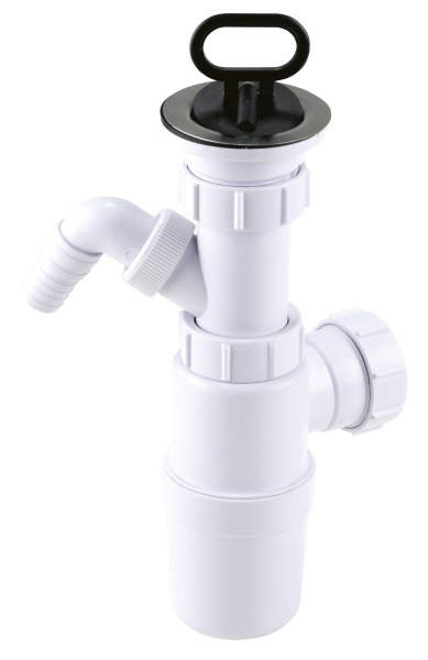 Sifon lavoar FERRO 443.PP, 1 1/2x40/50 mm, PP alb tip butelie cu ventil, dop si racord masina spalat 0