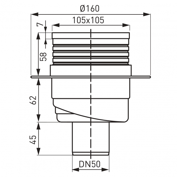 Sifon pardoseala FERRO 451.0, PEHD 1, iesire verticala, diametru 50mm, gratar inox 105x105 1