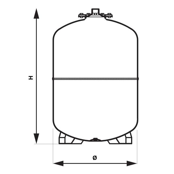 Vas expansiune stativ vertical FERRO CO80S, 80 litri, 8 bari pentru instalatii de incalzire 1
