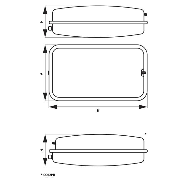 Vas expansiune suspendat plat rectangular FERRO CO8PR, 8 litri, 3 bari pentru instalatii de incalzire 1