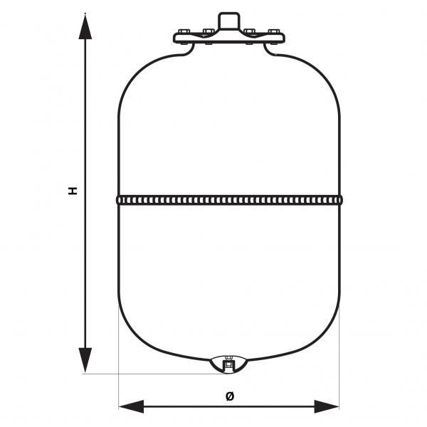 Vas expansiune suspendat vertical FERRO CO35W, 35 litri, 8 bari pentru instalatii de incalzire 1