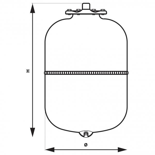 Vas expansiune suspendat vertical FERRO CWU35W, 35 litri, 10 bari pentru instalatii de climatizare si apa rece [1]