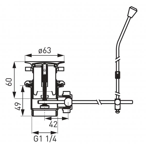 "Ventil automat din plastic FERRO K39TW, 1 1/4"" pentru lavoar, crom 1"