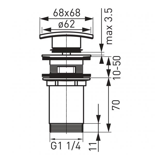 """Ventil lavoar FERRO Quadro S284, click-clack din alama  1 1/4"""" cu preaplin, crom 1"""