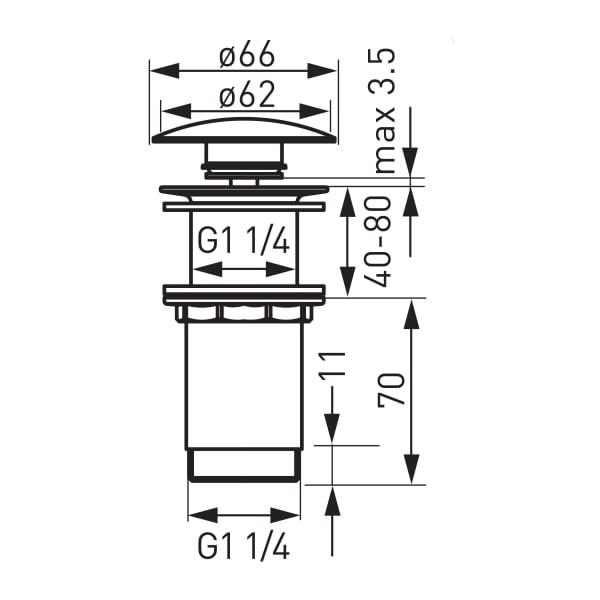 """Ventil lavoar FERRO Rotondo S285-WBP, click-clack din alama  1 1/4"""", cu preaplin, crom 1"""