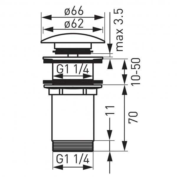 """Ventil lavoar FERRO Rotondo S285BR, click-clack din alama  1 1/4"""", cu preaplin, bronz 1"""