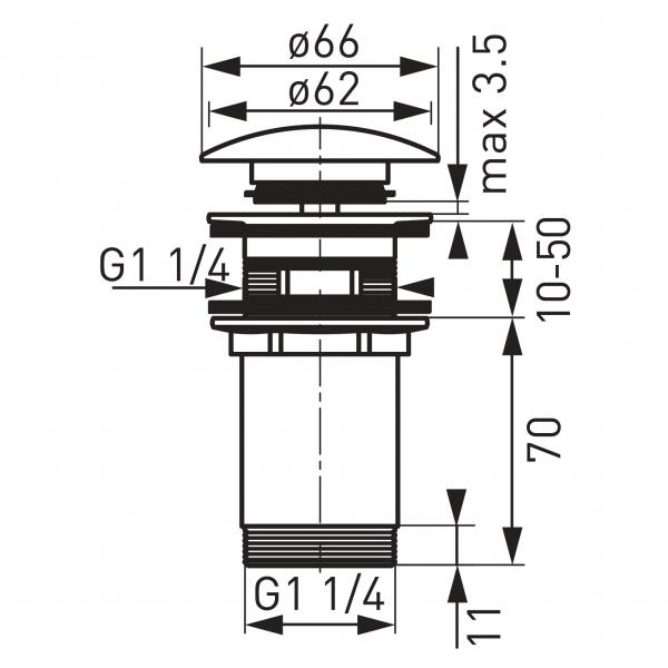 """Ventil lavoar FERRO Rotondo S285NC, click-clack din alama  1 1/4"""", cu preaplin nichel partial 1"""