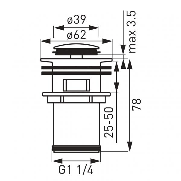 """Ventil lavoar FERRO S283, click-clack din alama, 1 1/4"""" cu preaplin, crom [1]"""