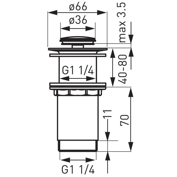 """Ventil lavoar FERRO S283-WBP, click-clack din alama, 1 1/4"""" cu preaplin, crom 1"""